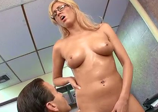Sizzilng hawt blonde girl with magnificent boobs oiled up and fucked