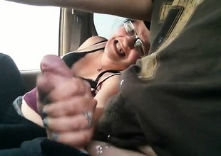 Masturbation and tugjob in the car