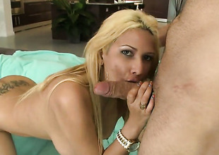 Blond senora Paris Sweet needs nothing but her mans hard meat pole in her mouth to get orgasm
