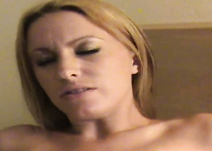 Blonde with large ass and clean snatch is ready to play with her love hole day and night