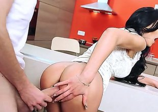Perfect boobed leggy brunette Shalina Devine with sexy ass gets her hairless pretty twat fucked with no mercy by well hung Danny D. That guy is horny as hell and loves her tight hole. Watch her get slammed on the counter.