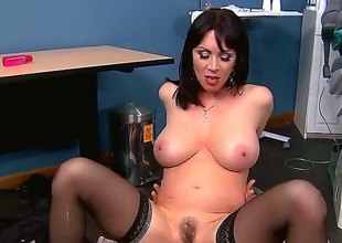 Dr. Johnny Sins loses control as soon as incomparable big titted MILF RayVeness shows up. Passionate well stacked woman in nylons takes his boner in her dripping wet pink fuck hole eagerly!