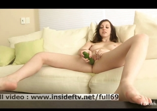 Victoria _ Amateur dark brown riding a big cucumber on a table