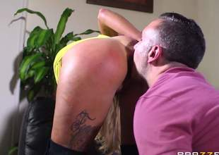 Lengthy haired busty blonde Candy Sexton with many tattoos all over her sexy body gets her cunt fucked good and hard by Keiran Lee. He does his superlatively good to make big breasted slut squirt