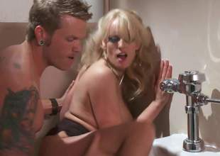 Fine looking big boobed golden-haired MILF Stormy Daniels gives suck job on her knees and gets her constricted fuck hole banged damn hard in the bathroom. Stacked Stormy Daniels likes hardcore sex