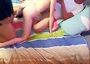 Amateur college blond hooks up with two guys