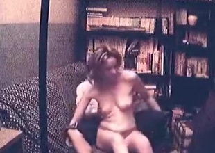 Blonde beauty has oral, masturbation, doggystyle and cowgirl sex with creampie on the sofa and moans loud.
