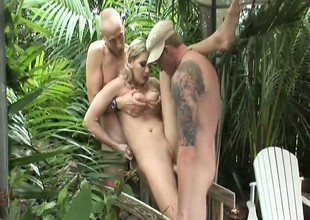 Hawt blonde MILF loves having her holes used by two horny chaps