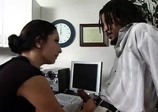 Slutty secretary Leah has a black dude pounding her cunt in the office