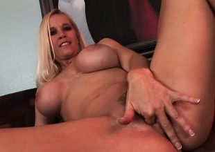 Curvy golden-haired Tabitha grits her teeth throughout some brutal anal sex