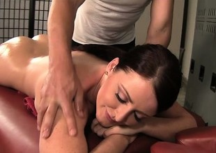 Curvy brunette Sophie Dee gets a relaxing massage and a hard pounding
