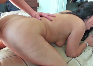 A brunette hair gets her arse drilled in this fine video