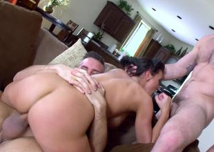 Two fit men give Rachel Starr the threesome of her life