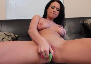 A solo girl that likes her strange dildo is showing us its uses