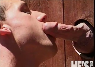 Here's a recent twist in the wrap up Glory Hole scene...how about if the Glory Hole was in the fence in Brent Banes' yard? Now let's say his neighbor is Patrick Allan...you see where I'm going with this? Find out this scene and you're plan to find out!