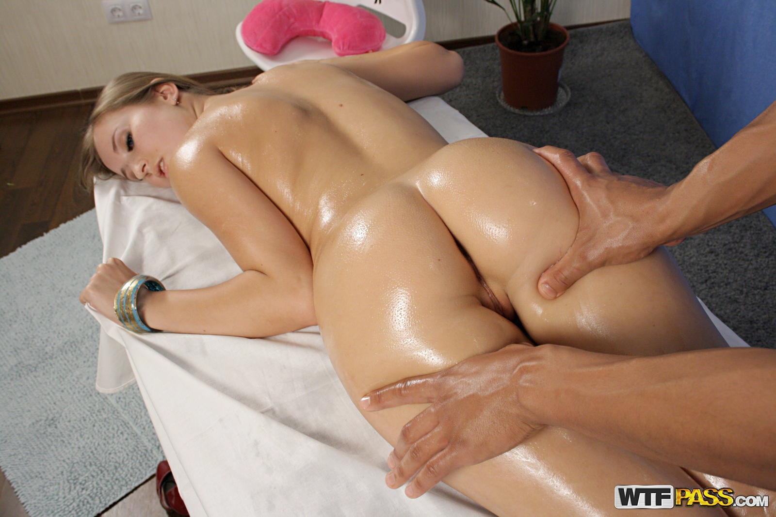 Naked boob massage